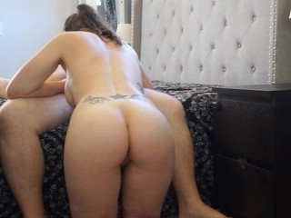 Tattooed pawg mom gives blowjob and swallows cum...