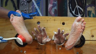 Damien's soapy scrubbed tickled feet and hands