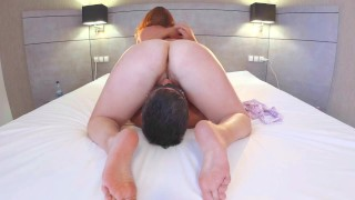 Cuckold Wife Creampie Cleanup - Husband Licking Clean Cum Mess from My Hairy Pussy! Ginger Ale PAWG