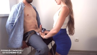 Screen Capture of Video Titled: Interview in the Office with Young Secretary ended with Big Cum on Boobs 4K