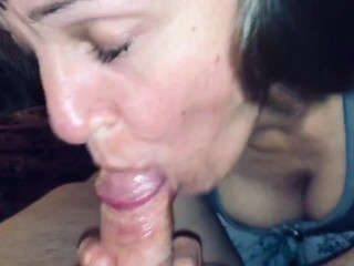 Mature Hot Wife sucking our friends cock dry while I watch and comment