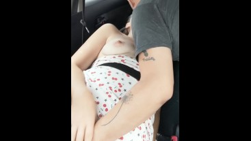 Getting Fingered While Tip Drains my Breastmilk in the Car