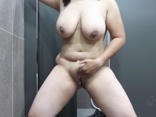 Fully Naked! Walking Around In A Public Restroom Dare Orgasm In The End