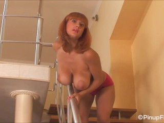 busty, lingerie, softcore, seduction, solo female, teasing, glamour, solo girl, natural boobs, striptease, topless, red head, big boobs, pornstar, valory fleur, milf, redhead, big natural tits, big tits, pinupfiles