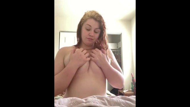 BBW plays and sucks her own tits! 9