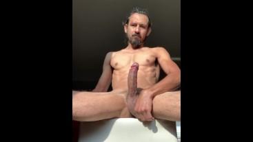 Big dick solo male cumshot sunbath