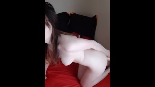 Slutty naked girl takes it from behind