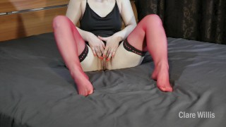 Red stockings excite me.Nylon fetish and hairy pussy - ClareWillis
