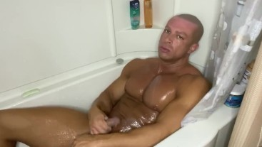 Sean Costin Muscle Shower Butt Plug Play with Cumshot