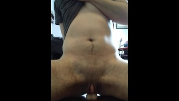 FTM guy riding dildo anal