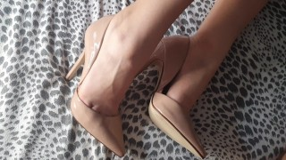 Amateur High Heel Job - Cum on my heels roommate!