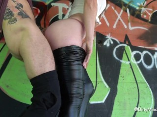 Secretly followed curvy ass in leather leggings and fucked her under the bridge