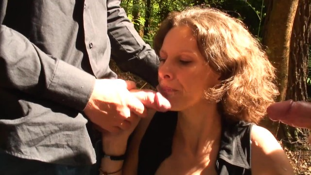 Skinny Horny French MILF Gets Fucked In The Ass By Her Two Step Sons Outdoor 48