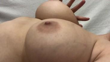 Big natural tits close-up