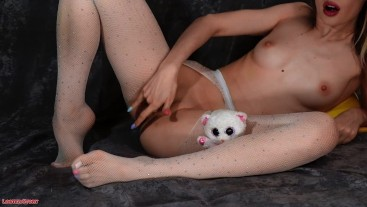 Kira Loster in white stockings pleases herself with 3 fingers and Mr. bear (dirty talk)