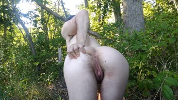 FTM showing off asshole and tight pussy outdoors