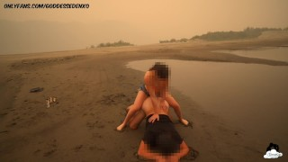wildfires outdoor public strap on ass fucking my boyfriend in middle of dried up lake too much smoke