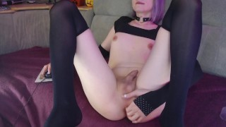 Femboy playing his ass after sucked dildo