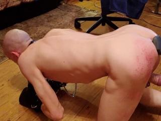 Slave deepthroat training on a 13 inch long...