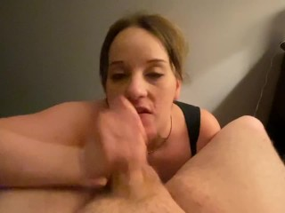 Curvy MILF dirty talks daddy with a cock in her mouth and ass in mirror! Facial and deepthroat!