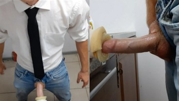 The guy with the big dick locked the utility room and pumped sperm into an artificial anus