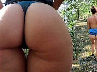 Showing ass outdoors my dirty girlfriend...