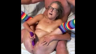 Hot 60 year old wife spreads wide toys wet pussy to multiple squirting orgasms