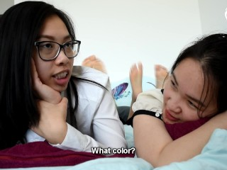 Pillow fight between two sexy teen asian foot...
