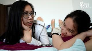Pillow fight between two sexy teen Asian foot girls (Asian feet, Vietnamese feet, lesbian feet,toes)