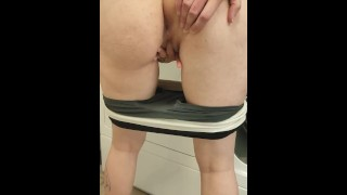 Finger fucking my pussy and showing my asshole in public laundry