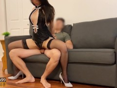 Perfect Body Teen Rides Cock on Sofa and Eats all the Cum