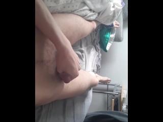 Boy strokes cums on himself...