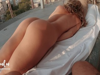 He caught me masturbating.. ! Very intimate sex on the balcony – Amateur Couple LeoLulu