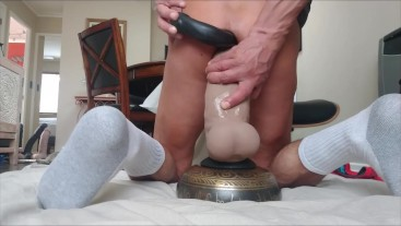 Double penetration with Mr. Hankey's XXXCalibur LG/XL and a double headed large dildo