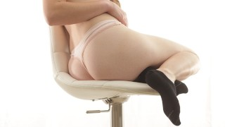 Dream Girl With Cute Black Ankle Socks Fucked On Chair