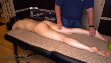 Massage for Flexible Mistress by Slave with Big Hands
