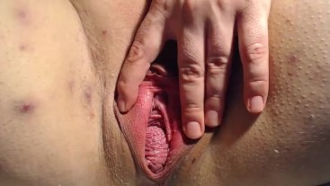 Pussy spread fist and huge toys close up