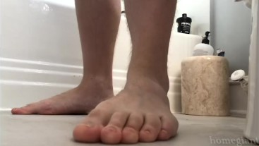 HomeGiant - Point of View - POV tiny man gay giant footplay cock cum bug eye view