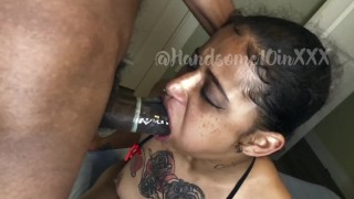 fucked this horny thot throat with my huge monster dick (SLO-MO) @Handsome10inXXX BBC