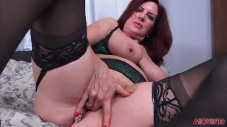 Busty Mature Redhead MILF Andi James Fingering with a Buttplug