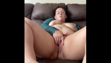 Sexy horny milf stripteases & plays with tits