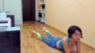 Slim busty brunette Myla_Angel performs hot sexy gymnastics!