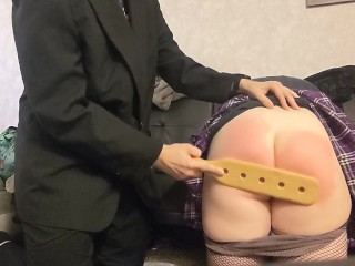 School Girl Spanked & Paddled By Young Principal