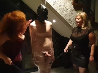 Male in cling wrap gets riding crop cbt...