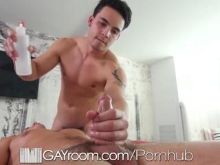 Gayroom hunks massage dicks...