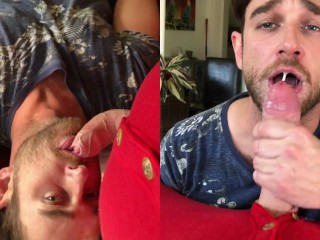 Worshipping this cock side by side cumshot play...