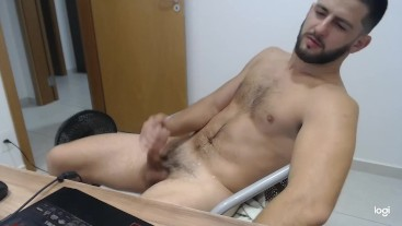 Beg for his huge load - latino stud edging on webcam - loud moaning - dirty talk