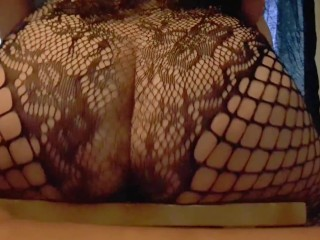 Thick white girl fucking wet pussy till orgasm while riding dildo in fishnets!!