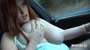 Huge natural Tits babe Drive very fast BMW naked and suck nipples and play boobs