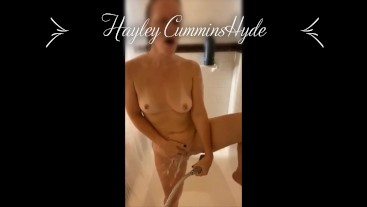 Getting clean but being dirty! MILF teases clit with handheld shower head!